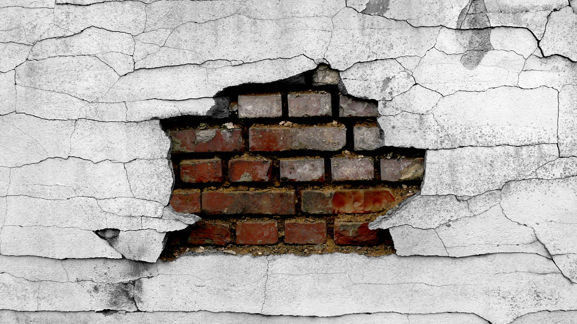 Cracked brick wall drawing brick wall - Wall Cracked Broken Brick Wall Wallpaper 1920x1080 48640 Wallpaperup