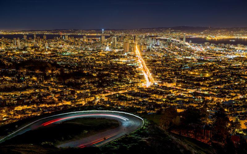 San Francisco Buildings Skyscrapers Night Lights roads wallpaper