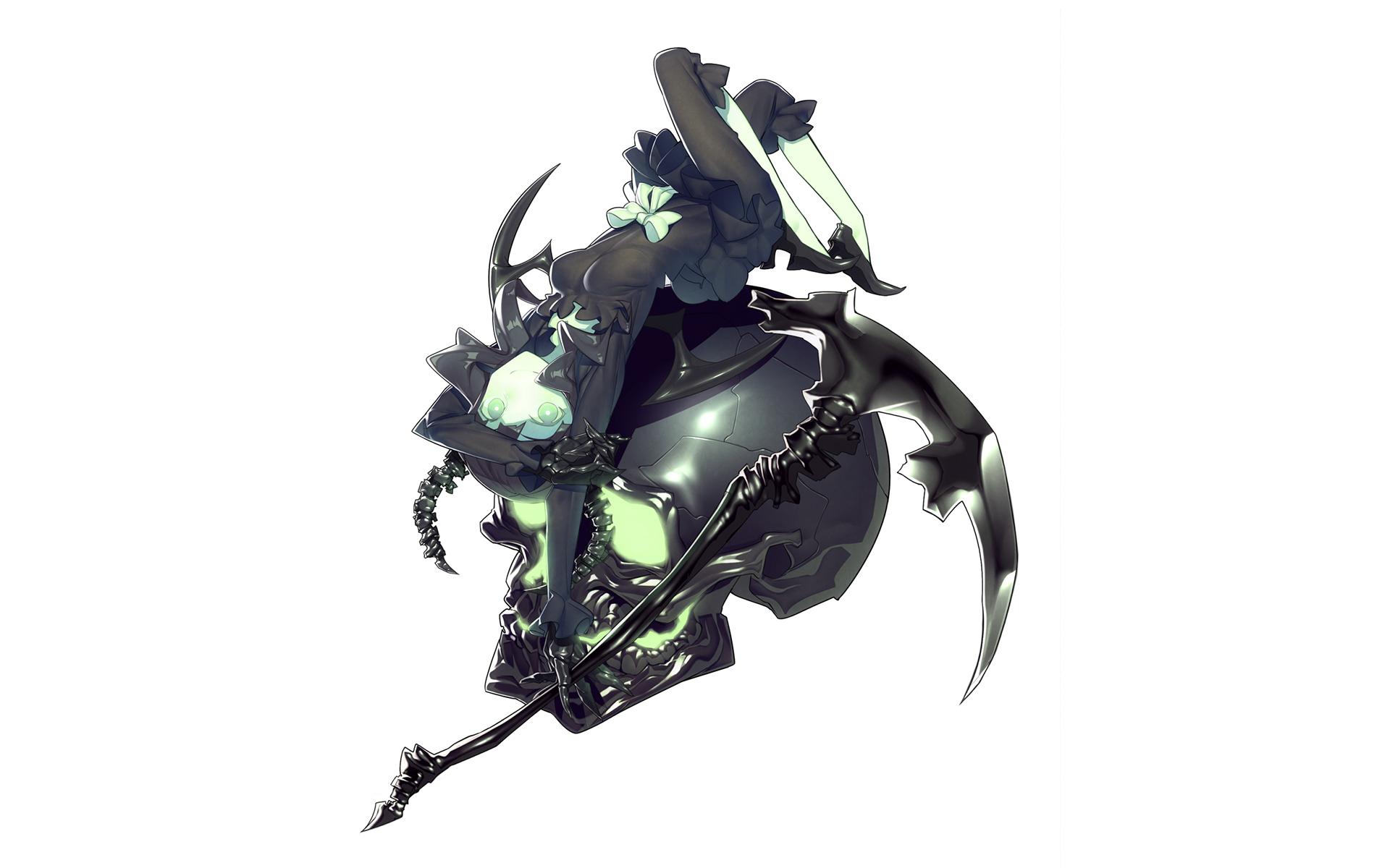 Skull anime white black rock shooter scythe wallpaper - Anime scythe wallpaper ...