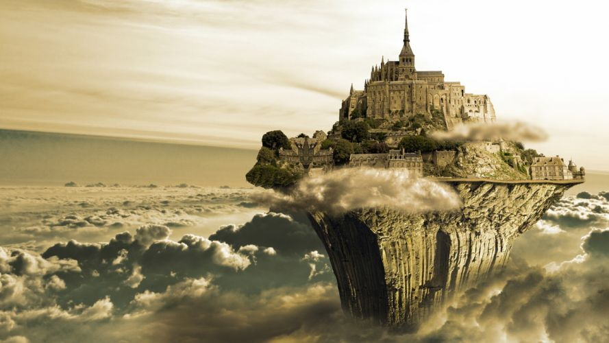 sky island clouds rock cities wallpaper