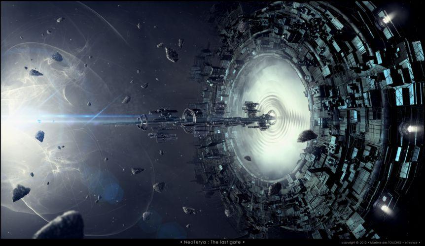 Spaceship Wormhole Debris Future wallpaper