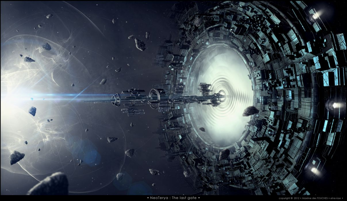 Spaceship Wormhole Debris Future wallpaper