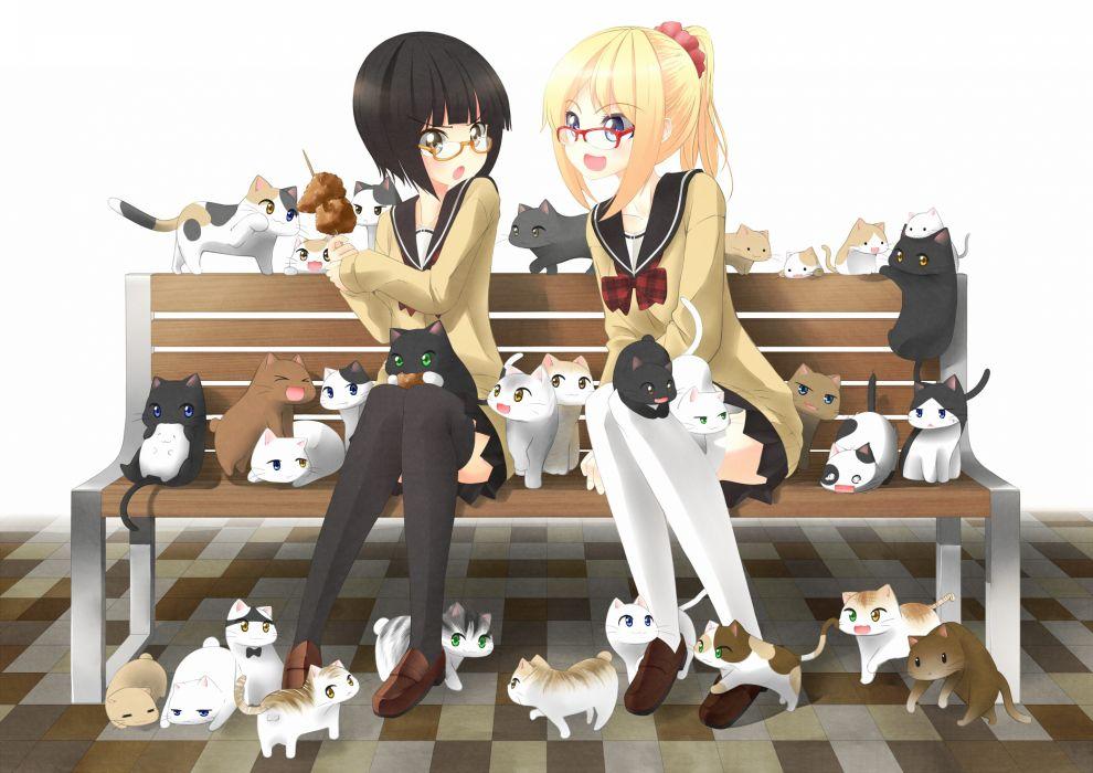 original anime cats kittens girls wallpaper