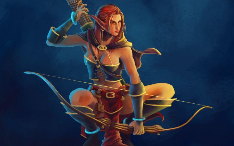 art girl elf elf bow arrows women females girls sexy babes redheads warrior wallpaper