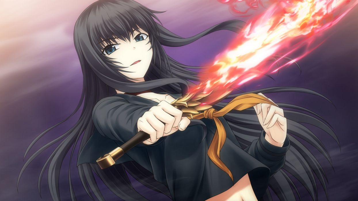 art  tokyo Babel  Lilith  girl  game cg  sword  fire anime videogames wallpaper