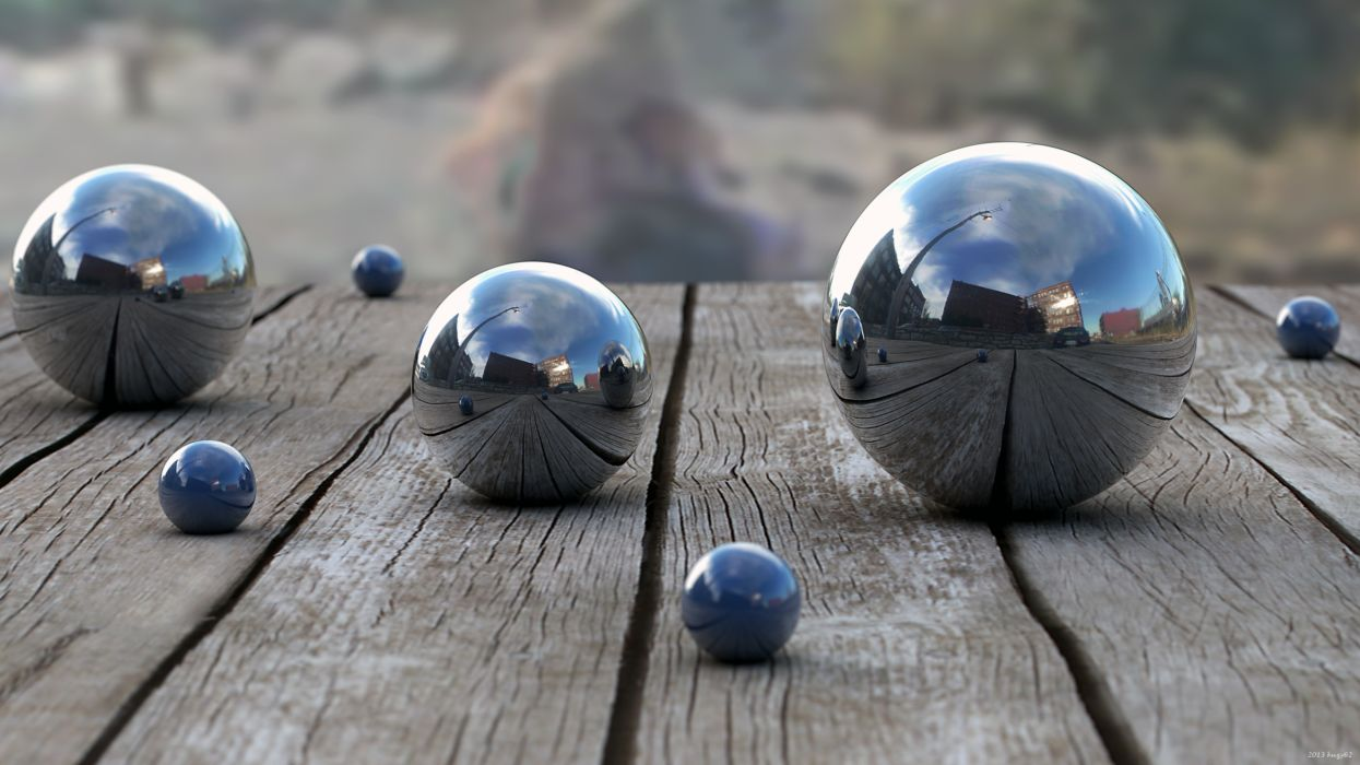 Balls Wood Reflection depth 3d bokeh wallpaper