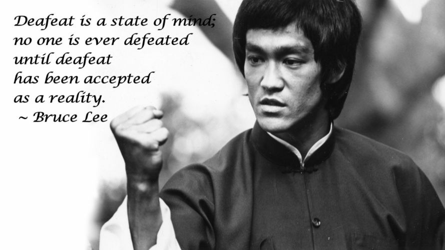 Bruce Lee BW Defeat martial art text quotes black white wallpaper