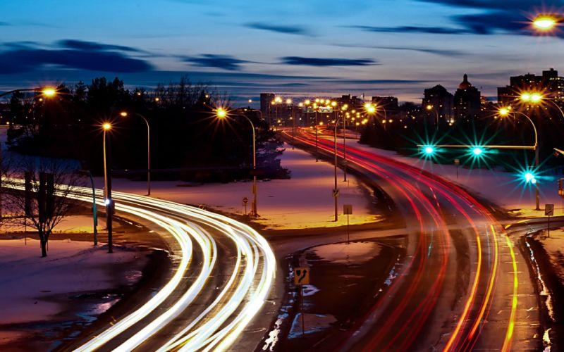 cities roads long exposure wallpaper