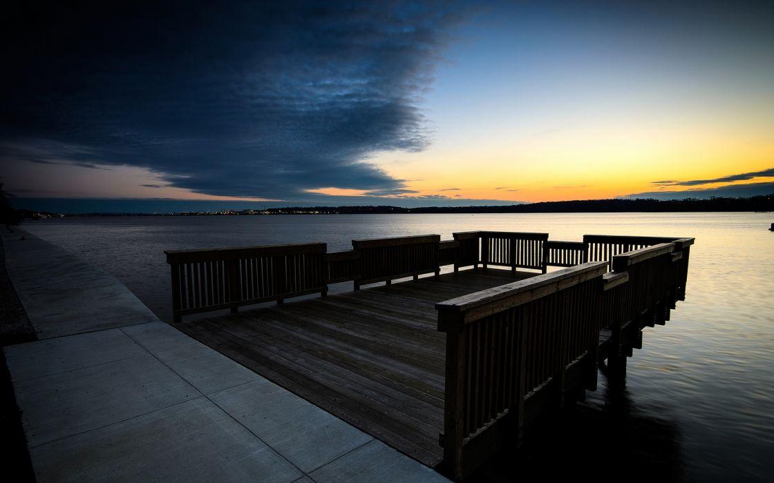 Dock Sunset Lake sky wallpaper