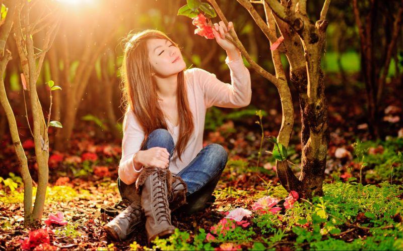 flowers mood summer asian models women females girls babes wallpaper