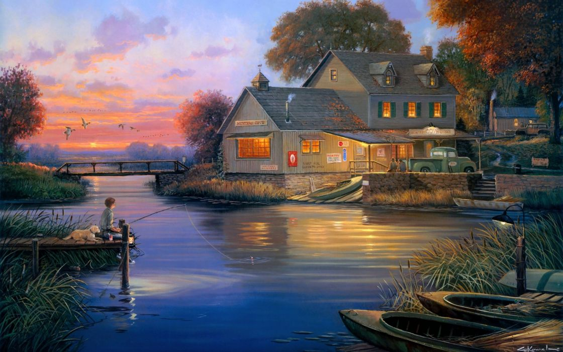 George Kovach Hunters Cove painting hunters lodge lodge harbor boat bridge fisherman dog evening autumn ducks house sky sunset art painting lakes wallpaper