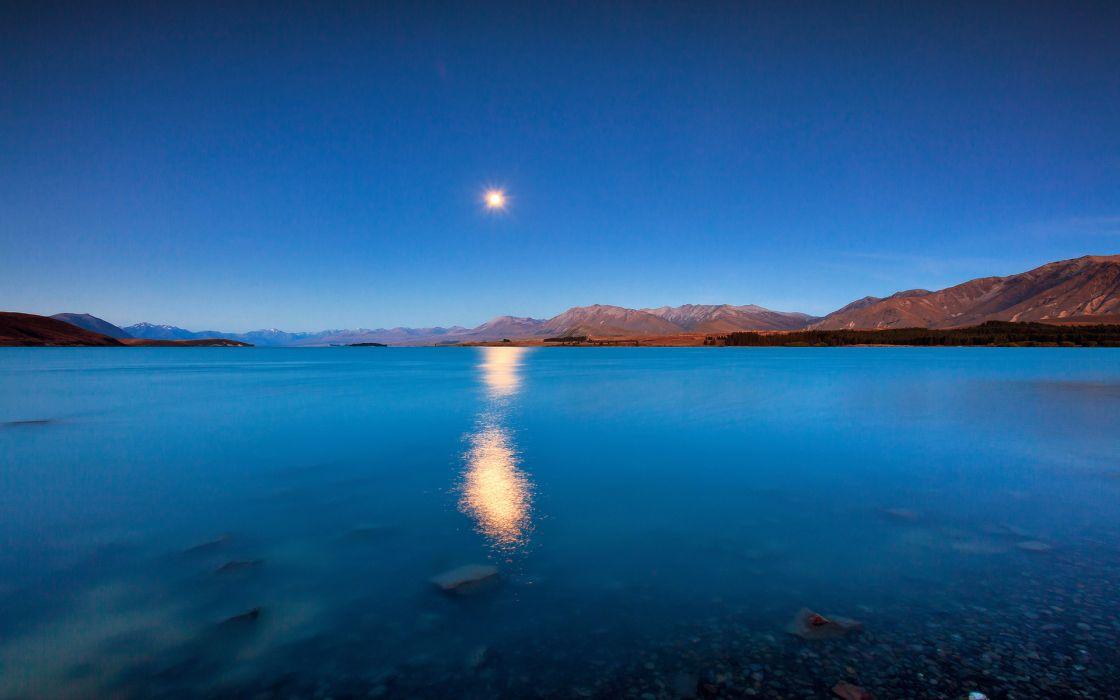 Lake Sunlight Landscape sky reflection wallpaper