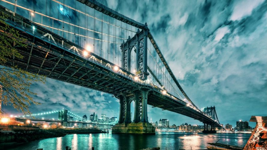 Manhattan Bridge Brooklyn Bridge Bridge New York River Buildings Light wallpaper