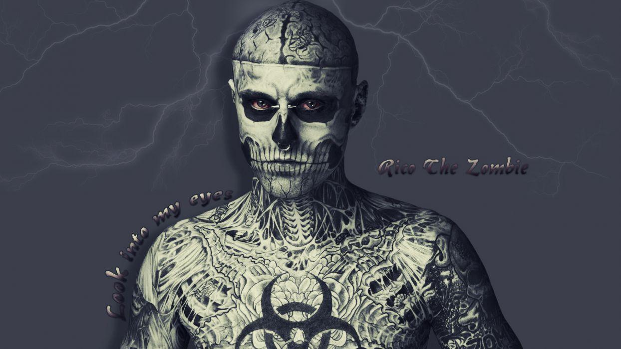Model Rick Genest Zombie Boy men males dark skull wallpaper