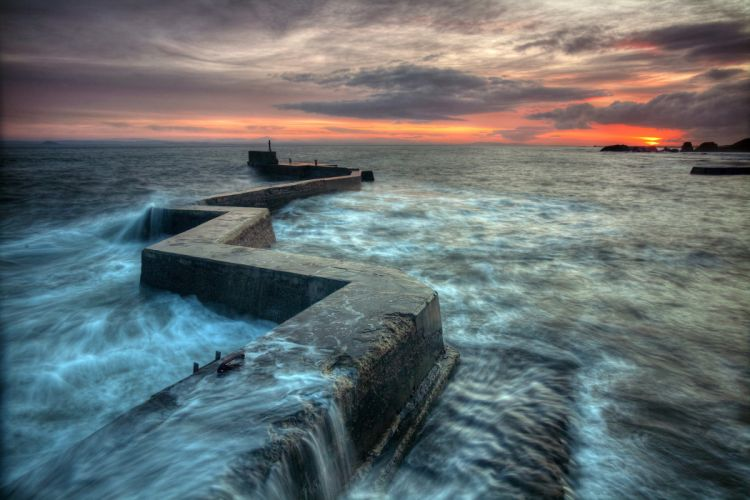 pier sea ocean waves timelapse sunset sky clouds wallpaper