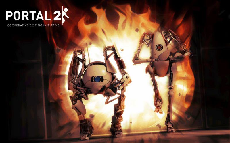 Portal 2 robot sci-fi wallpaper