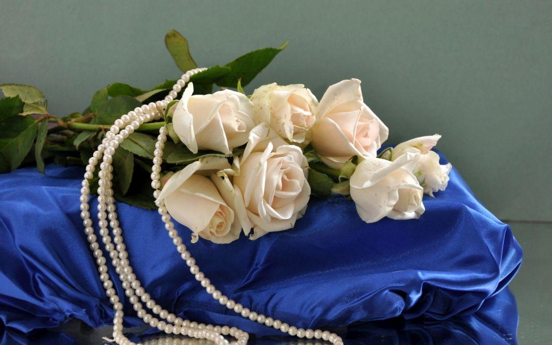 roses flowers flower flower beads silk pearls gems silk wallpaper