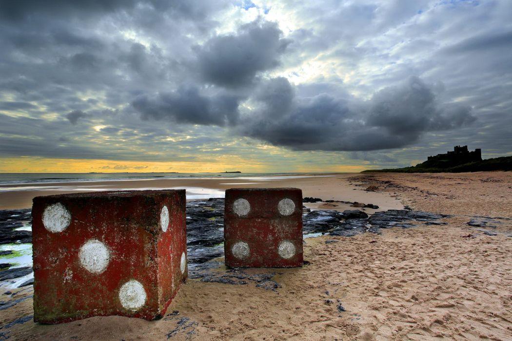 sea aeYaeY sky  beach  nature  landscape dice mood ocean ruins castle buildings clouds wallpaper