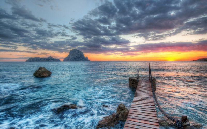 Sea Coast Sunset Sky Clouds Horizon ocean hdr wallpaper