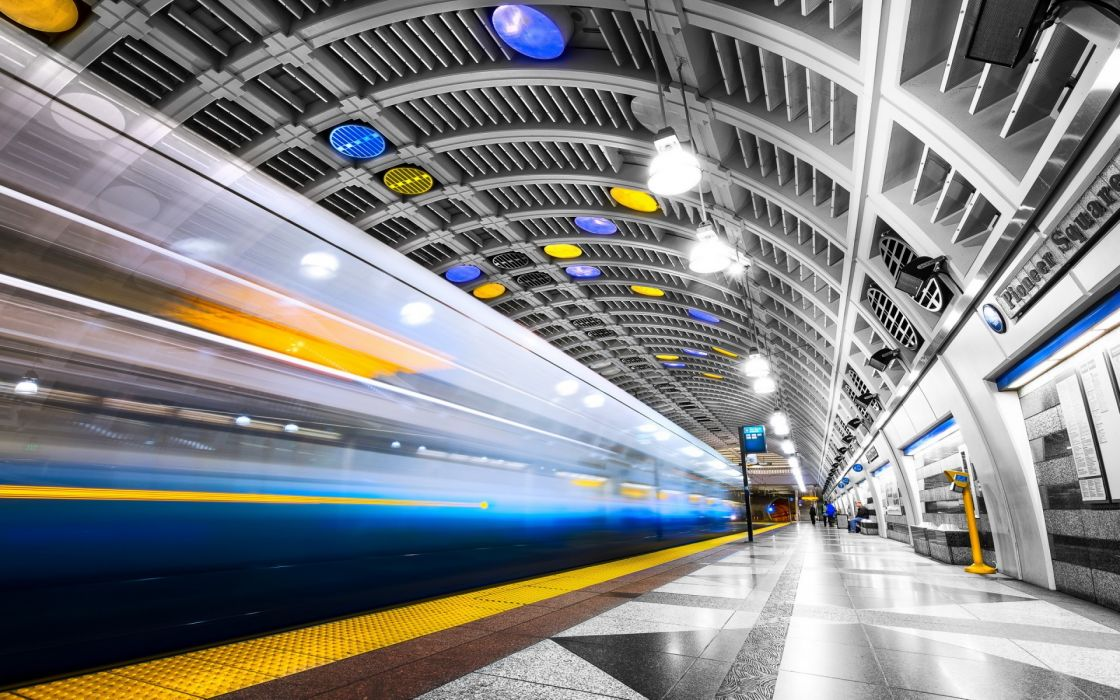 seattle subway train tunnel wallpaper