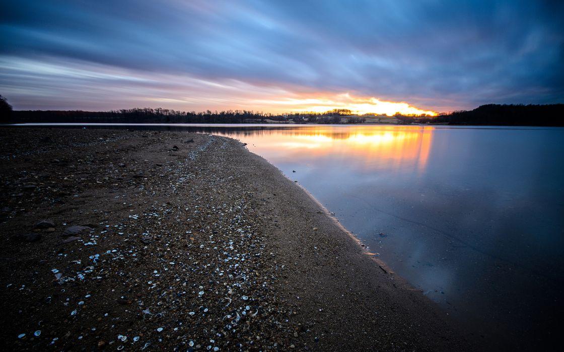 Shore Lake Sunset beaches sunset wallpaper