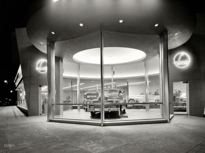 Showroom Classic Car Classic BW retro black white buildings window wallpaper