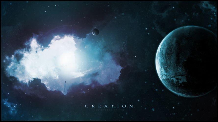 space planets stars light nebula wallpaper