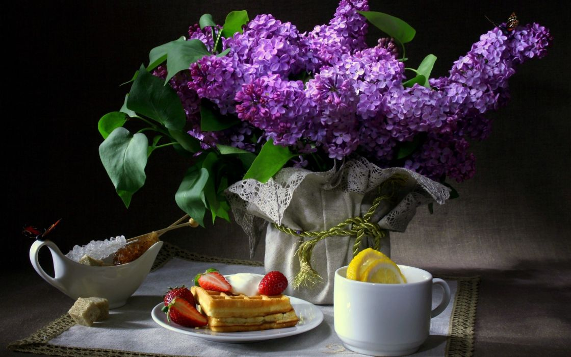 still life breakfast waffles strawberries cup lemon sugar flowers lilac butterfly napkin wallpaper