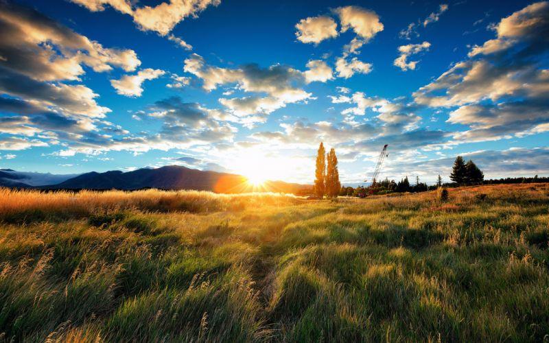 Sunlight Sunset Clouds Grass landscapes wallpaper