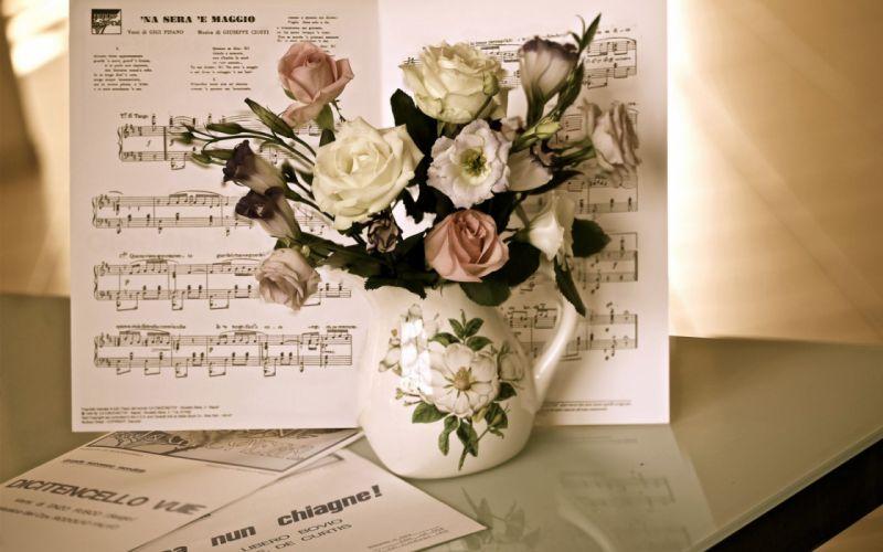 TABLE NOTES MUSIC JUG BOUQUET ROSES PETALS bud wallpaper