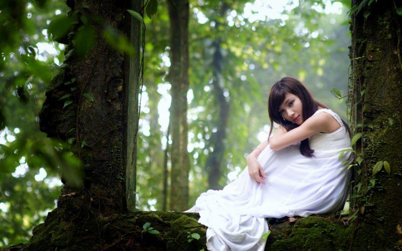 trees forest asian models mood women females girls babes wallpaper