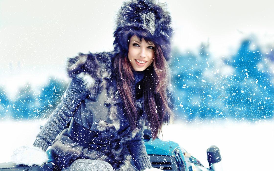 winter snow fashion model women females girls babes wallpaper