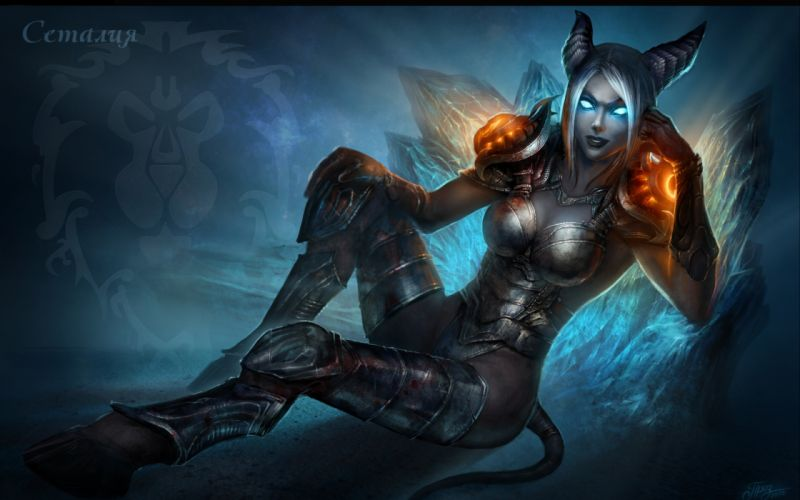 World Of Warcraft fantasy dark demon warior women females wallpaper