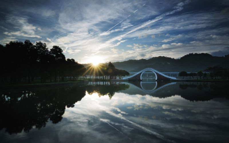 CHINA TAIPEI LAKE bridge sunrise tree sky cloud forest wallpaper