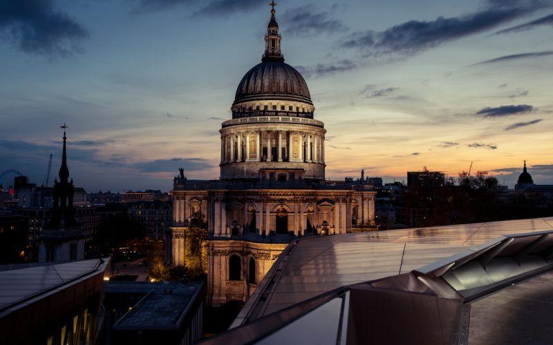 england night St Pauls Cathedral England London London Night UK sunset wallpaper