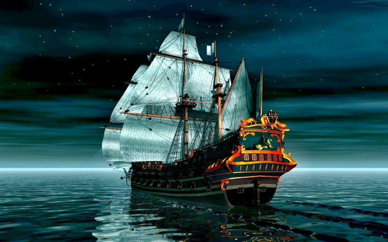 boat night 3d ship ocean wallpaper