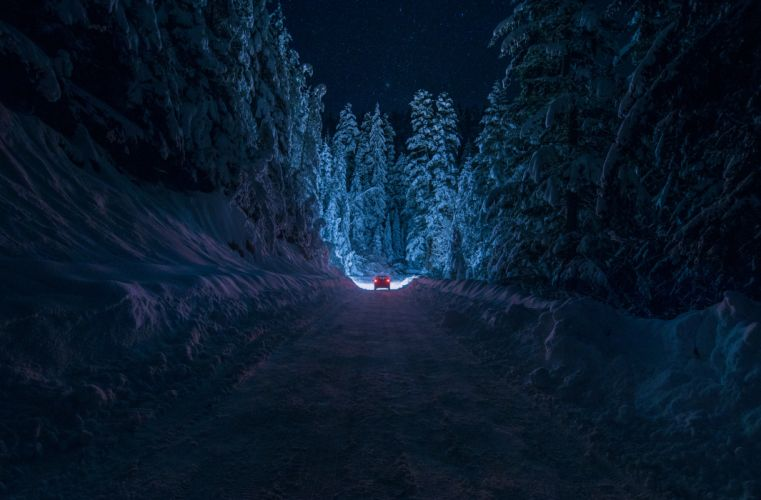Bulgaria Kyustendil winter road snow forest night car light sky stars trees wallpaper
