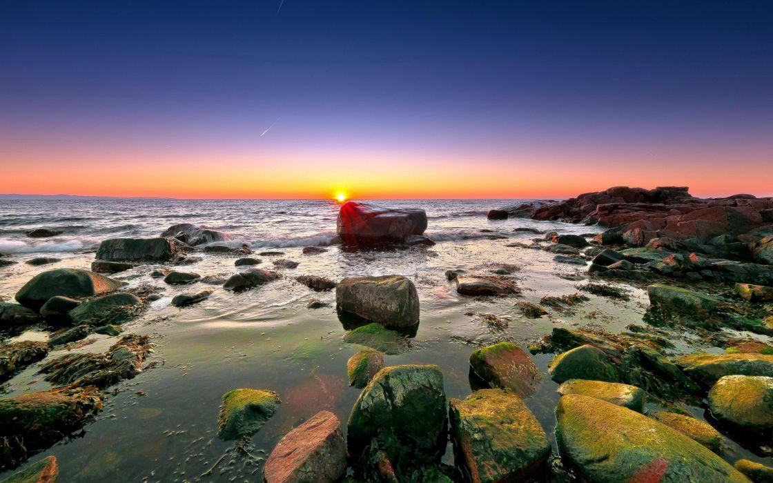 ocean sea sky sunset wallpaper