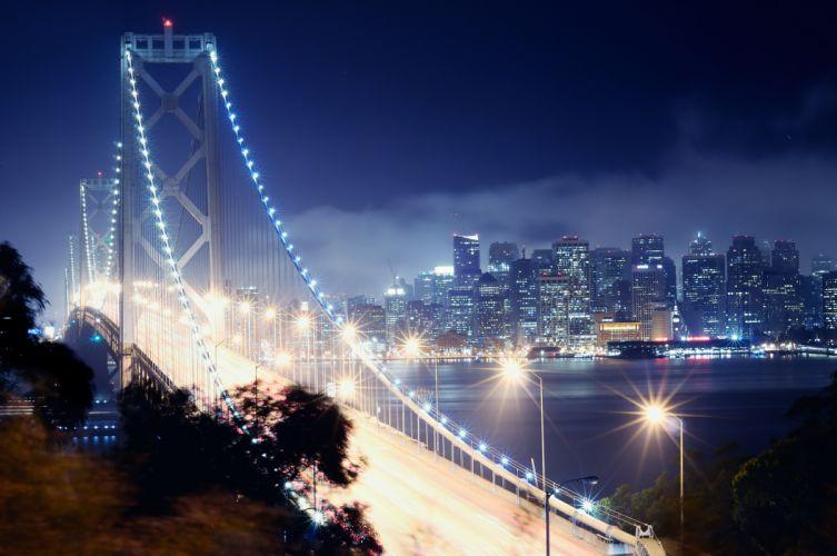 san francisco night California Bay Bridge cities wallpaper