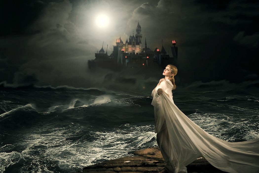 Girl Castle Sea Night Women Gothic Wallpaper