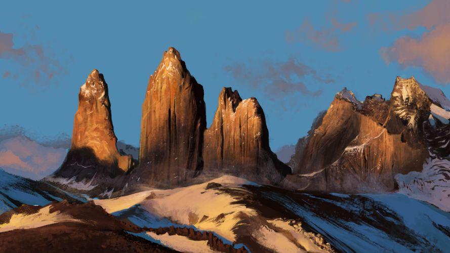 Mohammad javadi nature art mountains snow rocks landscape wallpaper