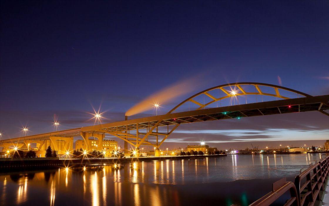 United States Wisconsin Milwaukee Historic Third Ward Hoan Bridge rivers wallpaper