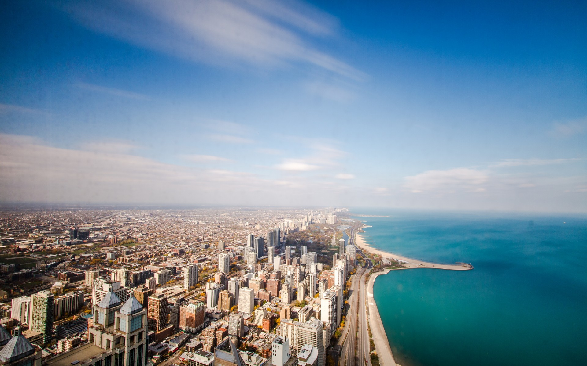 USA Illinois Chicago Beach Ocean Coastline Horizon Sky Clouds Day Clear Skyscrapers Roads Wallpaper