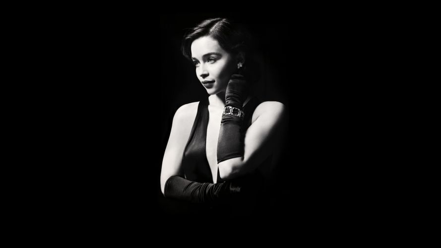Emilia Clarke Brunette BW Black wallpaper