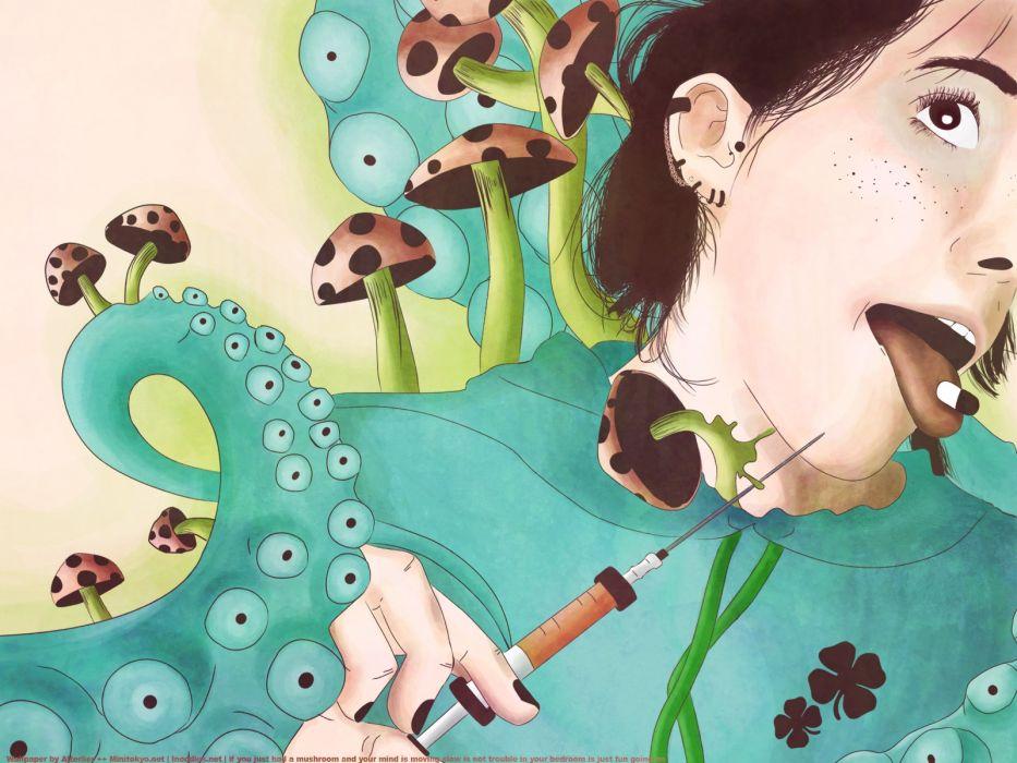 Face Abstract Syringe Pill Mushrooms Tentacles dark drugs wallpaper