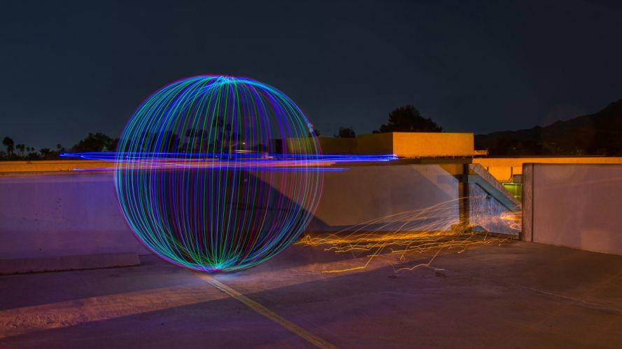 Ball Light Painting Night Sparks Timelapse wallpaper
