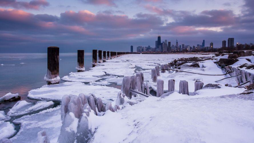 Chicago Buildings Skyscrapers Winter Frozen Ice Posts Ocean wallpaper