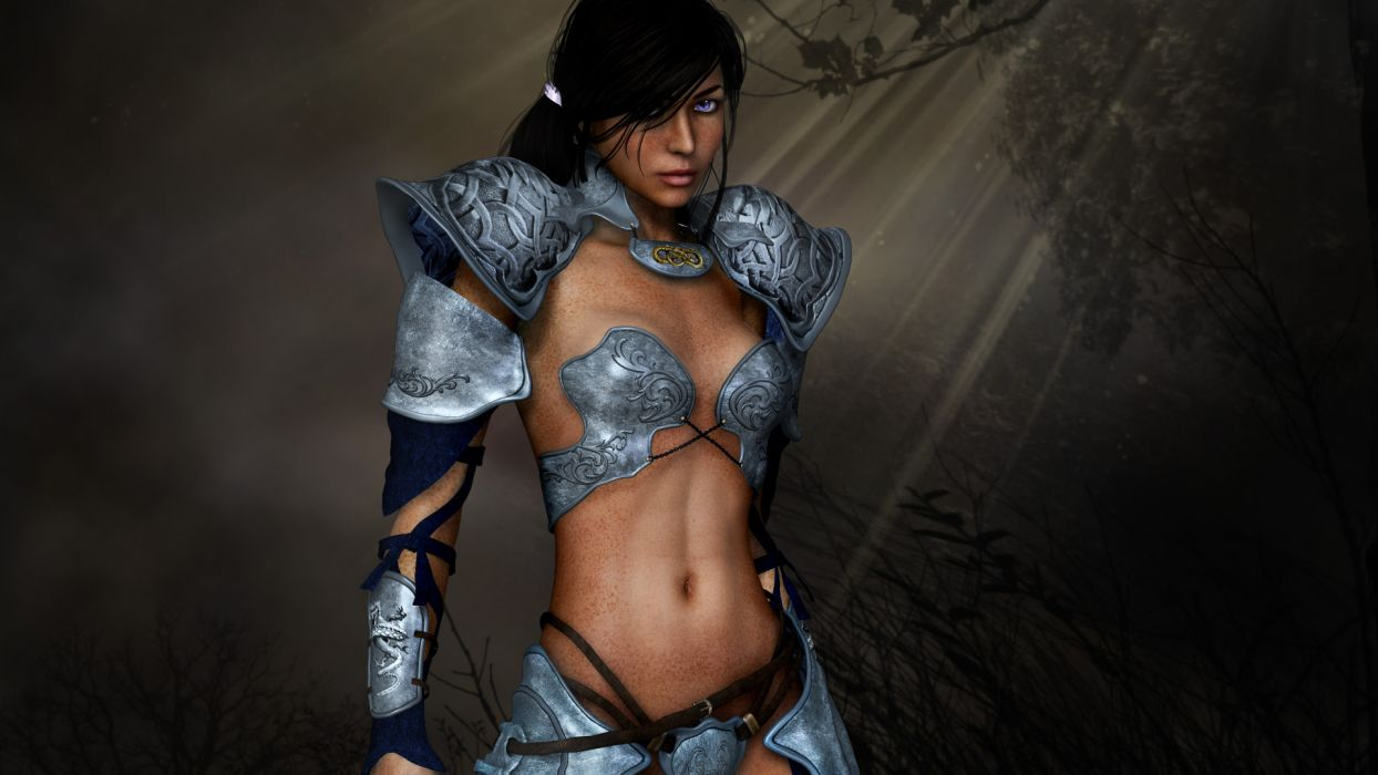 dark forest freckles belts girl armor 3d women females babes sexy wallpaper