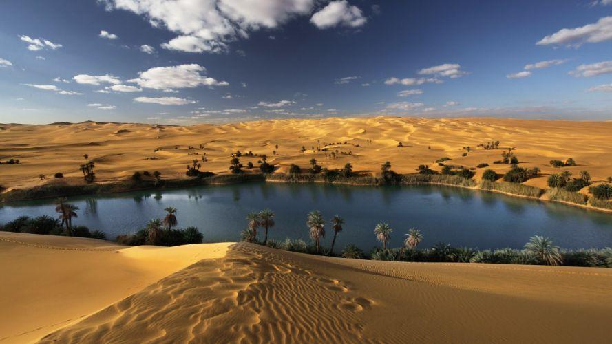 Desert Oasis Water Landscape CGi 3d wallpaper