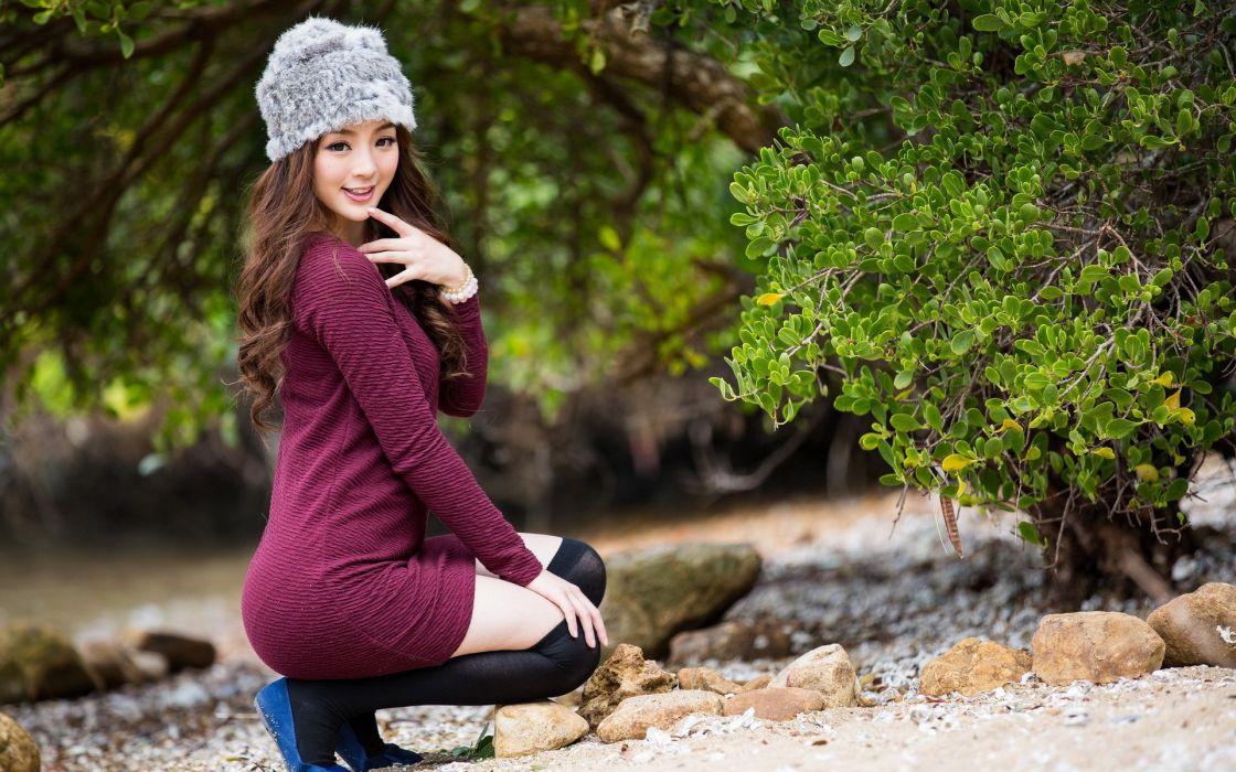 Asian Brunette women face babes models wallpaper